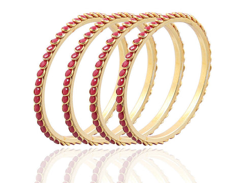 Beautiful and Serene Paachi Bangles in Red FK27c