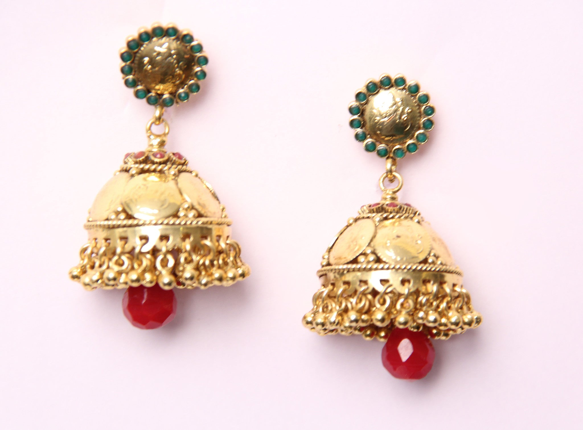 Classic Coin Polki Earrings in Gold and Red Colour - PO536