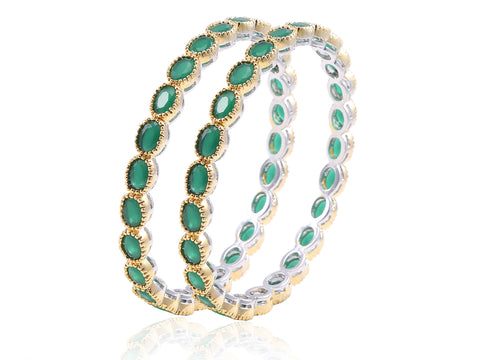 Stunningly Beautiful Faux Emerald Bangles in Golden finish DK34b
