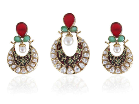 Beauteous Pearl Pendant Set in Red, Green and White Colour - PS603