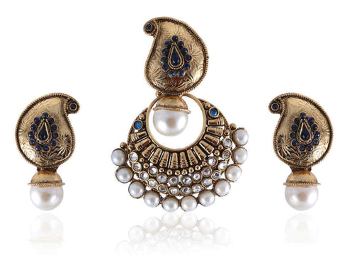Ambi (Mango) Shaped Polki Pendant Set in Blue and White Colour - PS592