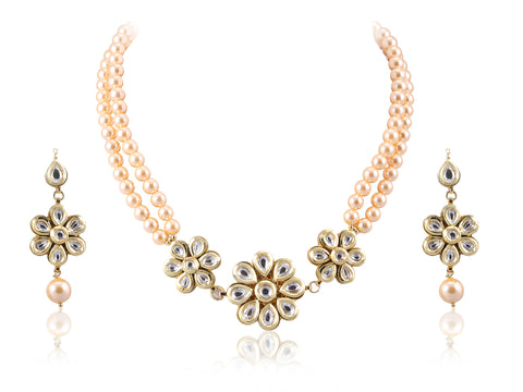 Exquisitely Designed Floral Kundan Necklace Set KS66