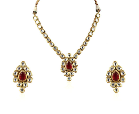 Exquisite Single Line Kundan Set with a Gorgeous Pendant and Stunning Earrings KS67