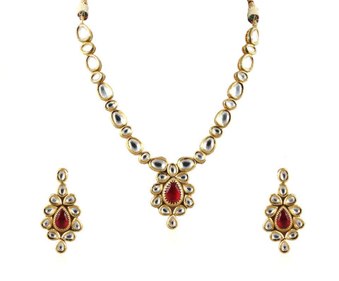 Exquisite Single Line Kundan Set with a Gorgeous Pendant and Stunning Earrings KS69