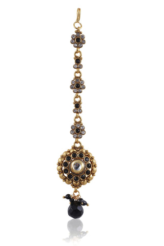 Beautiful Maangtika in Black stones and Golden combination MG17
