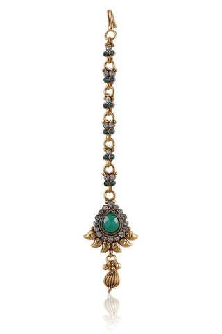Beautiful Maangtika in Emerald colored stones and Golden combination MG23