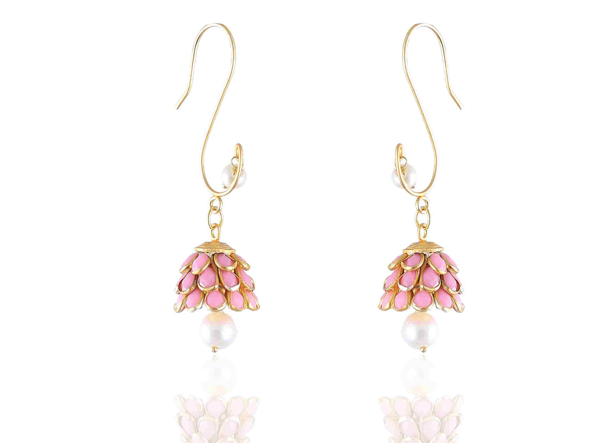 Pretty Pink & Golden combination with Pearl Droplet Fashion Paachi Earrings PC45 By VastradiJewels