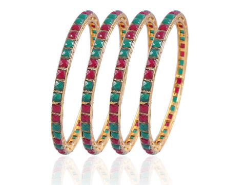 Beautiful Square cut Designer Bangles in Red & Green Colored Stones PK57b