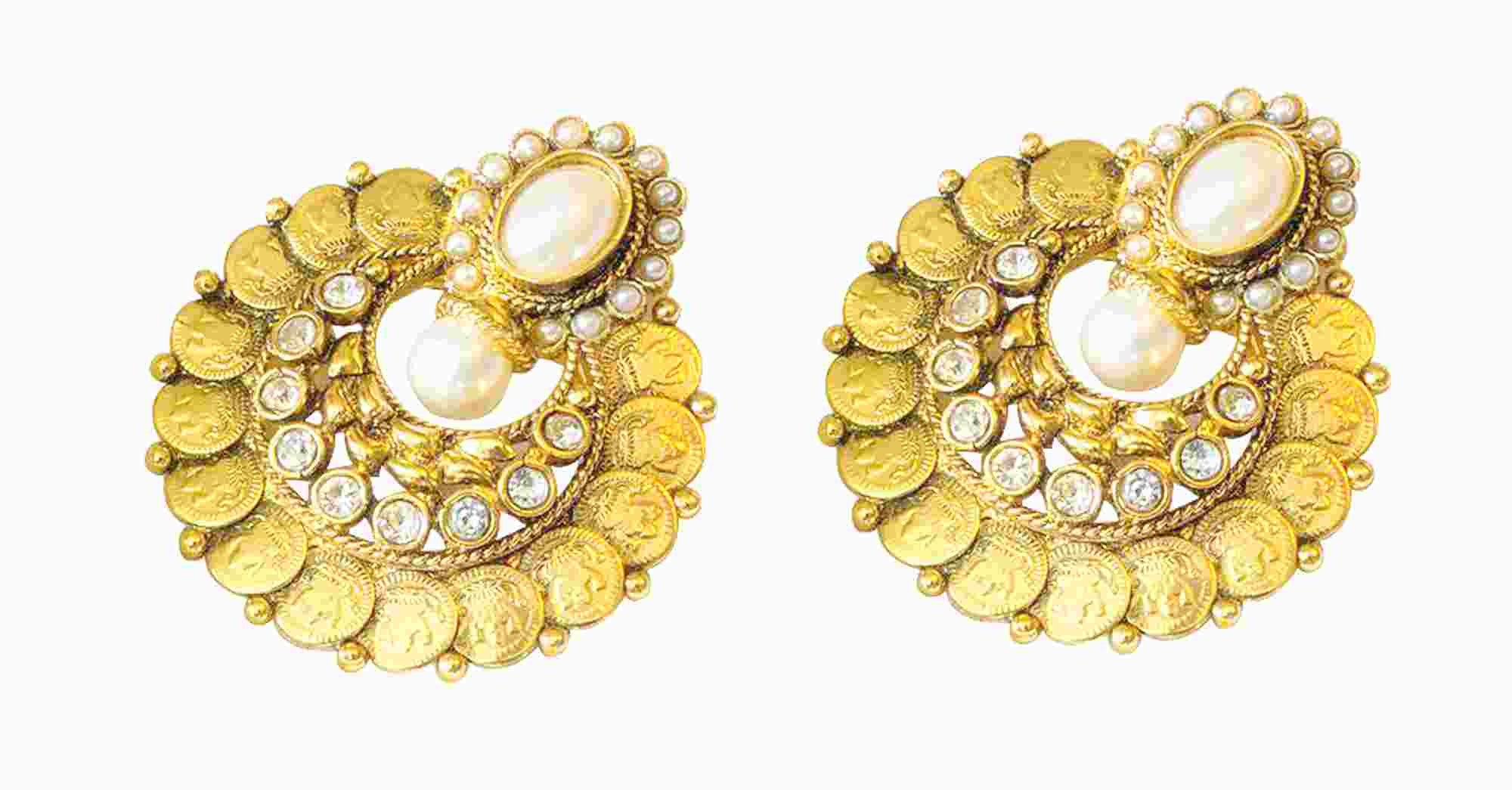 Traditional Coin Polki Earrings in White Colour - PO361