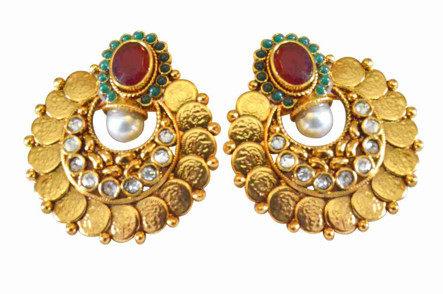 Traditional Ruby Polki Coin Earrings PO383 By Vastradi Jewels