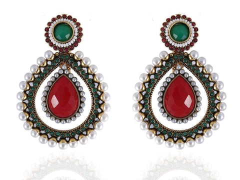 Drop Shaped Polki Earrings in Red, Green and White Colour - PO410