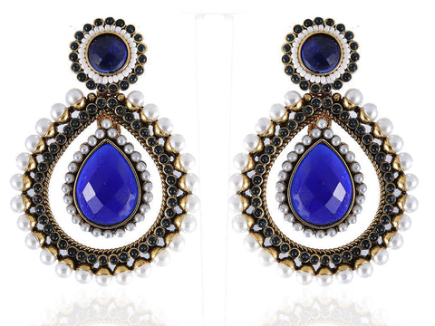 Drop Shaped Polki Earrings in Blue and White Colour - PO411