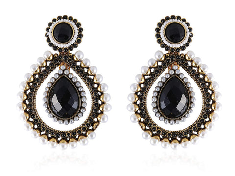 Drop Shaped Polki Earrings in Black and White Colour  PO413