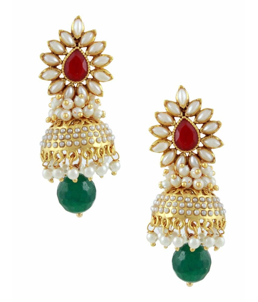 Bollywood Aashiqui 2 Style Polki Earrings in Red, Green and White - PO416