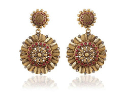 Amazing Coin Polki Earrings in Red and White Colour - PO734