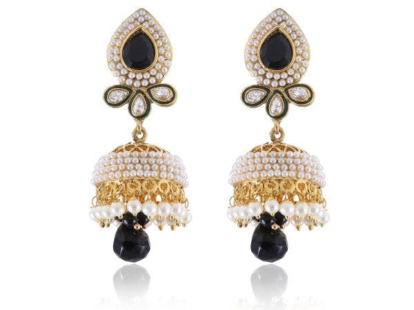 Ravishing Jhumkis Polki Earrings in Black and White Colour - PO737