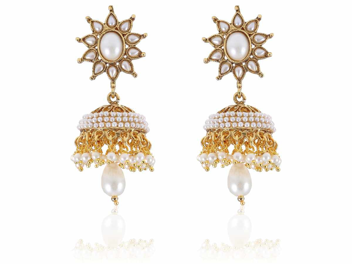 Royal Polki Jhumkis Earrings in Black and White Colour - PO738