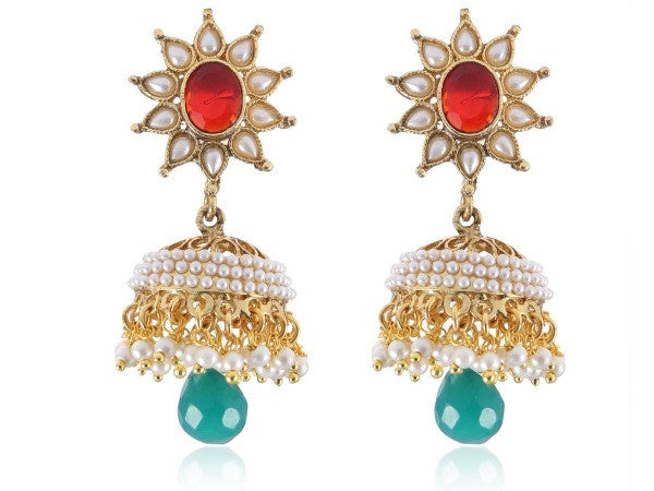 Mesmerising Jhumkis Polki Earrings in Red, Green and White Colour - PO739