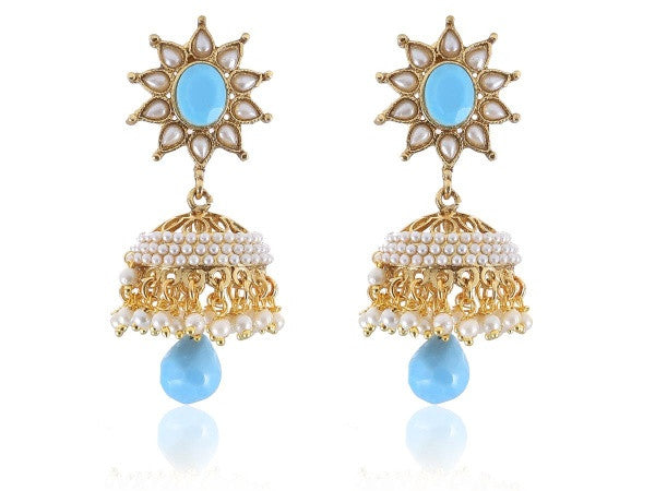 Appealing Jhumkis Polki Earrings in Light Blue and White Colour - PO740