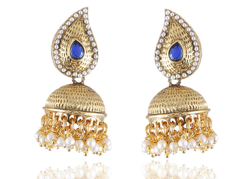 Ambi (Mango) Shaped Jhumkis Polki Earrings in Blue and White Colour - PO753