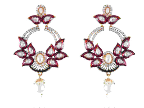 Bedecked Danglers Polki Earrings in Pink and White Colour - PO754