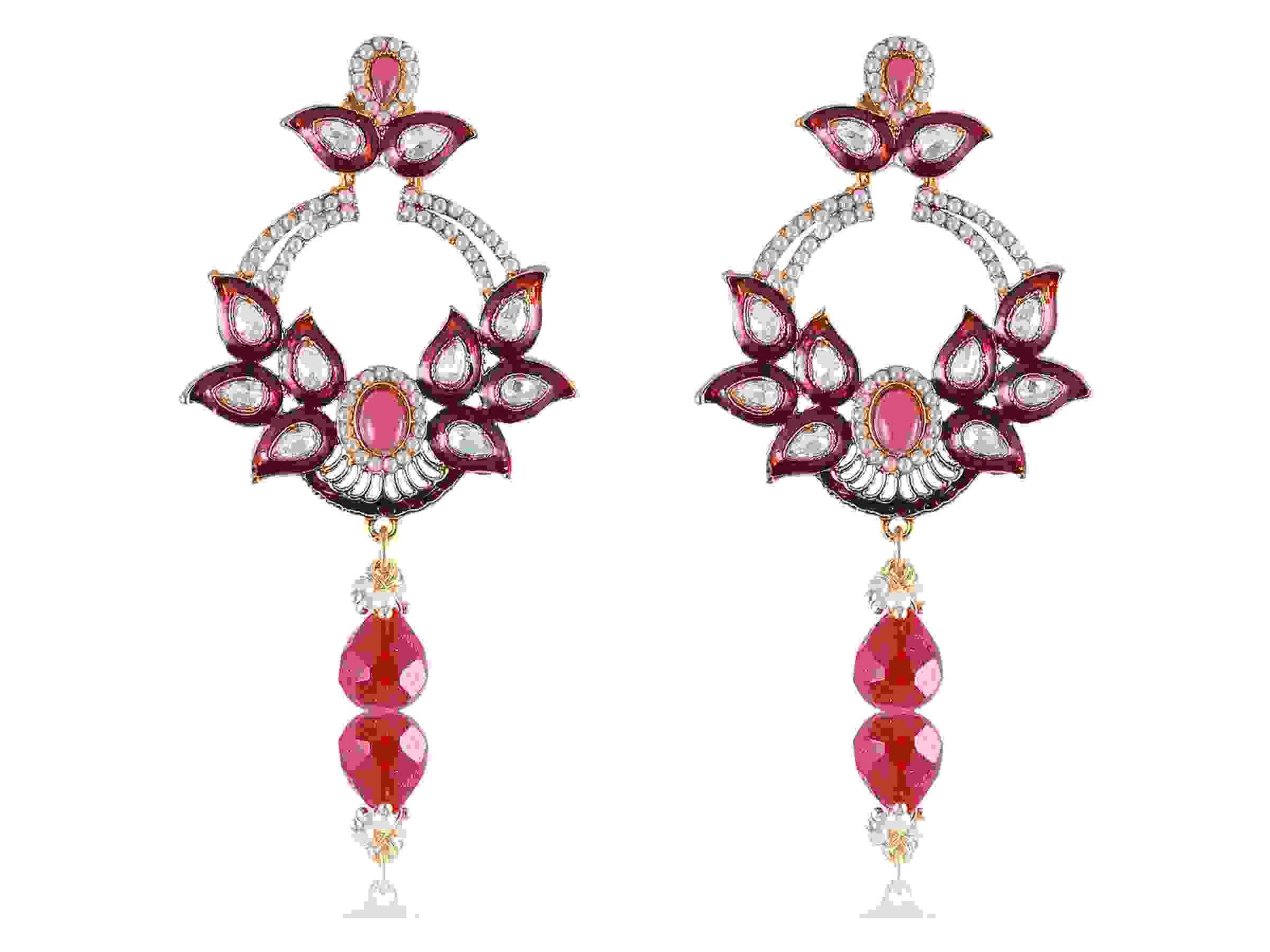 Embellished Danglers Polki Earrings in Pink, Maroon and White Colour - PO755