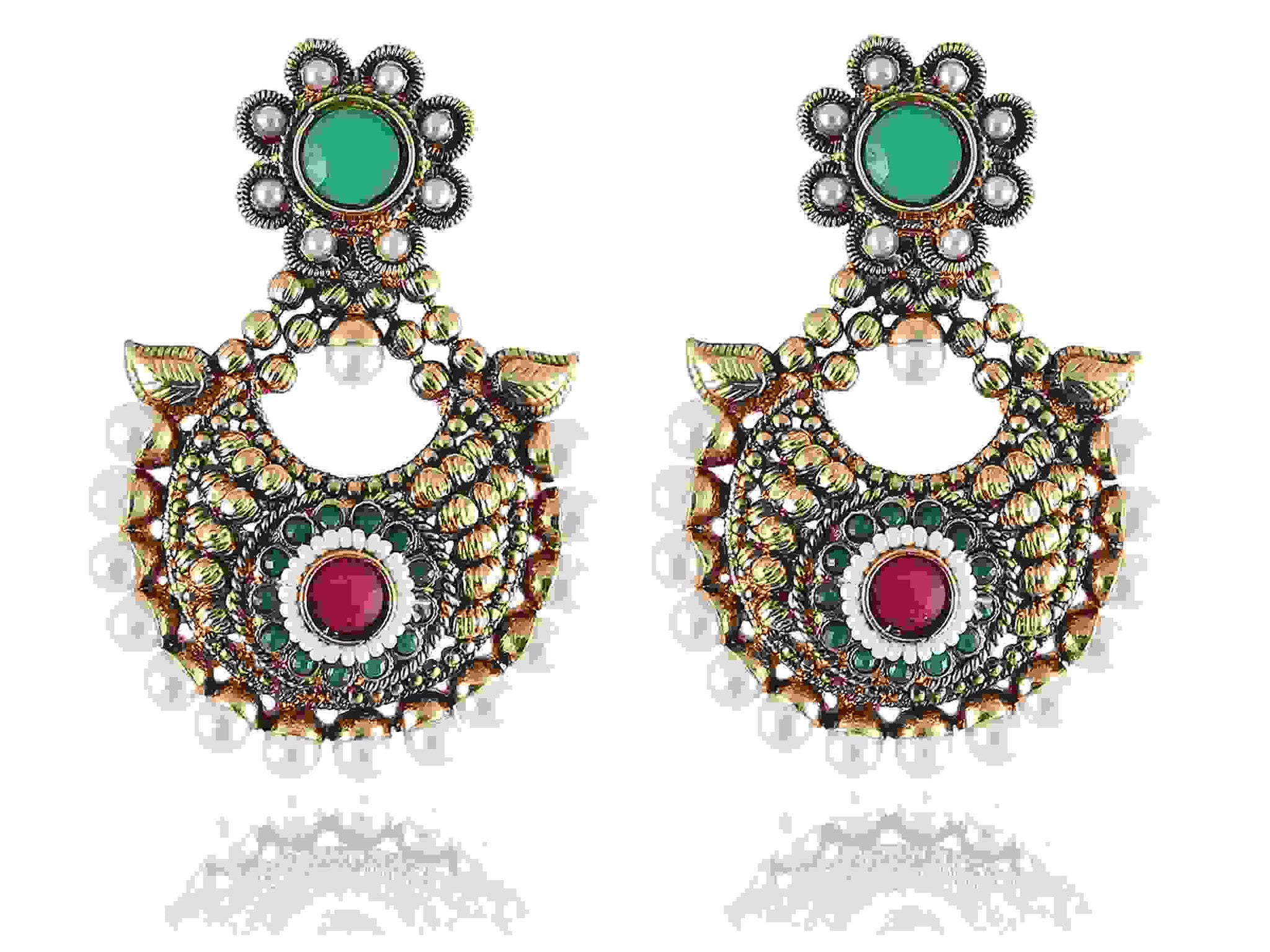 Bejeweled Polki Earrings in Red, Green and White Colour - PO757