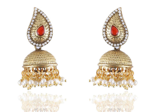 Ambi (mango) Shaped Jhumkis Polki Earrings in Red and White Colour - PO759