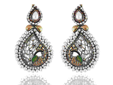 Exceptional Danglers Polki Earrings in White Colour - PO760