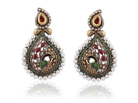 Captivating Danglers Polki Earrings in Red, Green and White Colour - PO761
