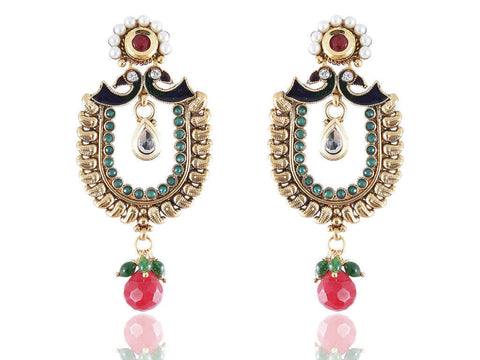 Aesthetic Polki Earrings in Red, Green and White Colour - PO765