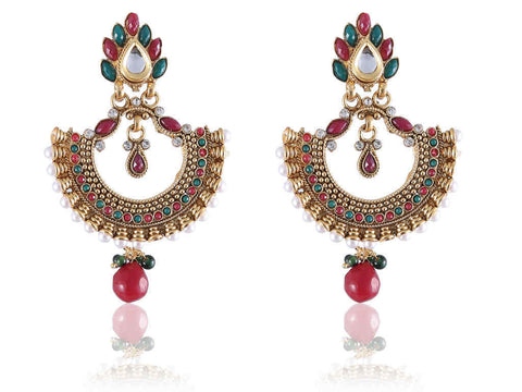 Alluring Polki Earrings in Red, Green and White Colour - PO767