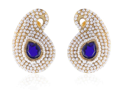 Ambi (Mango) Shaped Polki Earrings in Blue and White Colour - PO778