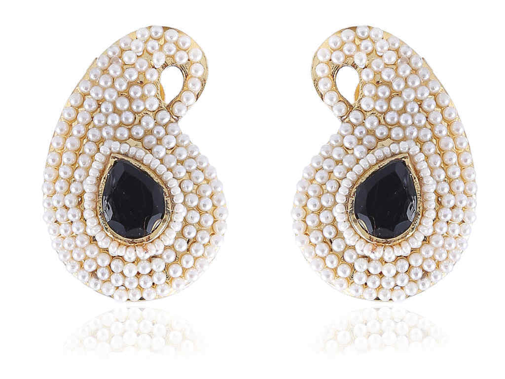 Ambi (Mango) Shaped Polki Earrings in Black and White Colour - PO779