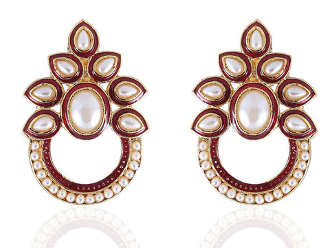 Stirring Polki Earrings in Maroon and White Colour - PO787