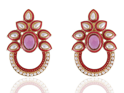 Awe - Inspiring Polki Earrings in Pink and Gold Combination - PO790