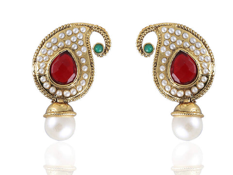 Ambi (Mango) Shaped Polki Earrings in Red, Green and White Colour - PO801