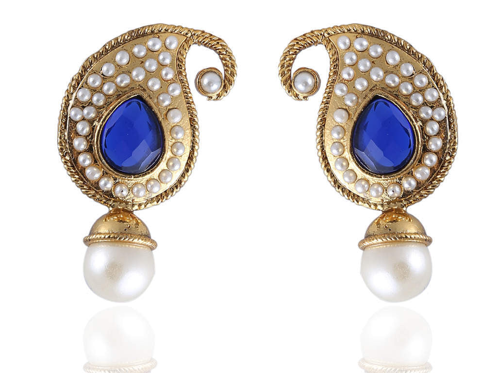 Ambi Shaped Polki Earring in Blue and White Colour - PO804
