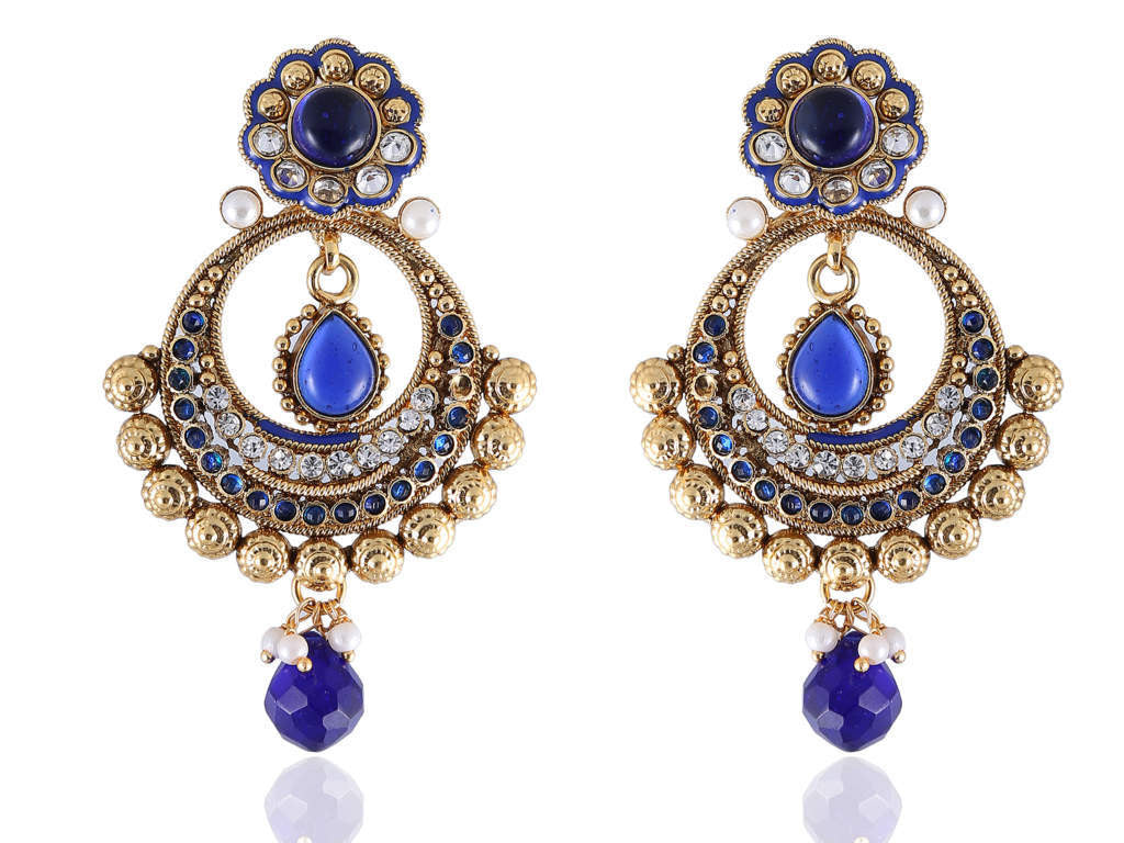 Eccentric Polki Earrings in Blue and White Colour - PO810