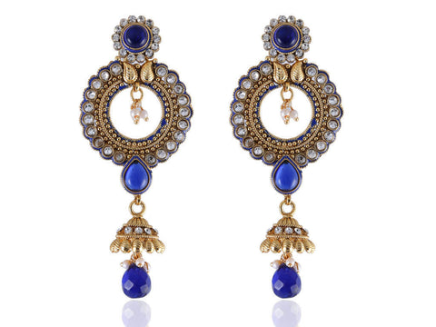 Captivating Polki Earrings in Blue and White Colour - PO812