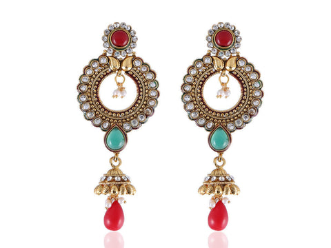 Dazzling Polki Earrings in Red, Green and White Colour - PO813