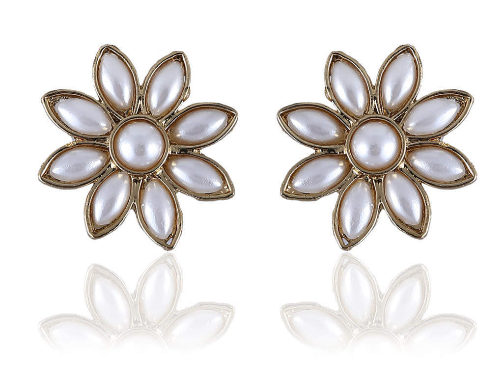 Pearly Polki Earring Studs in White Color PO819