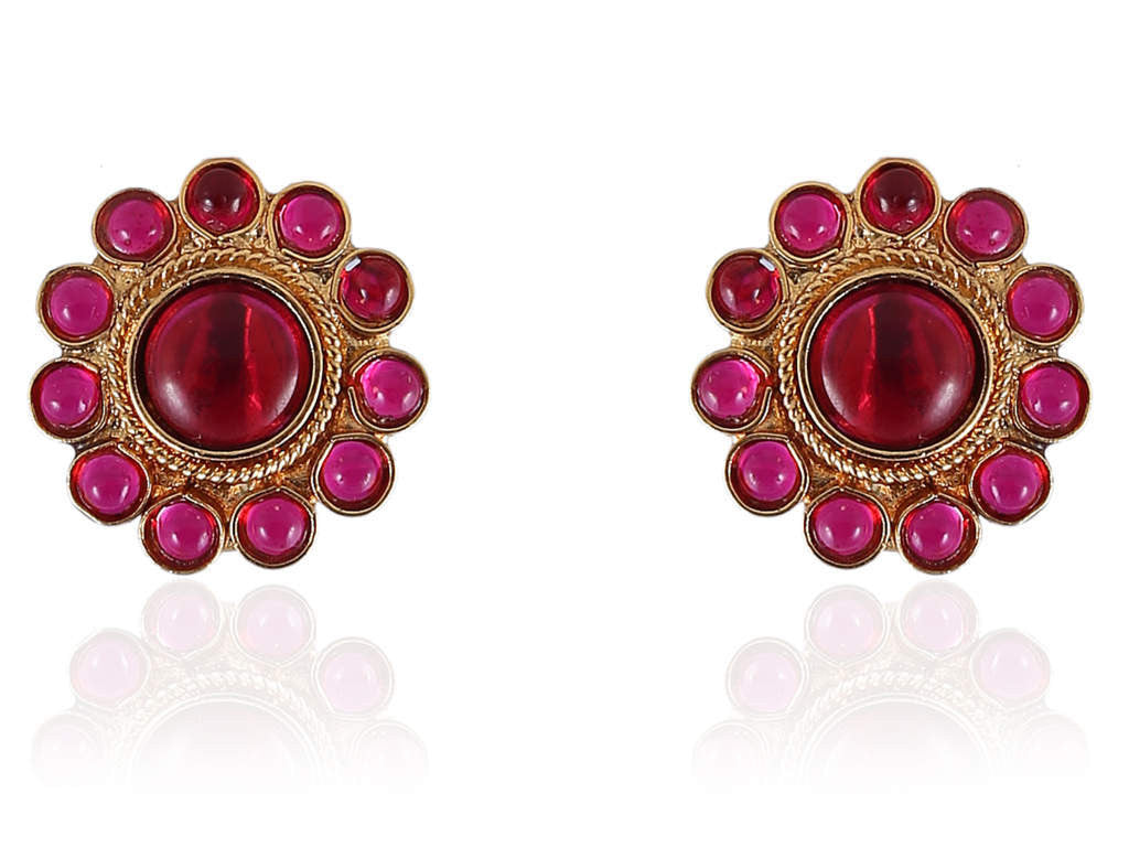 Polki Earrings with Red Stones PO828
