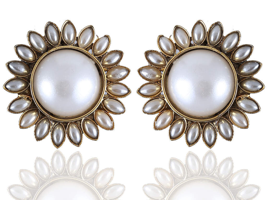Polki Earring Studs with White Stones PO834