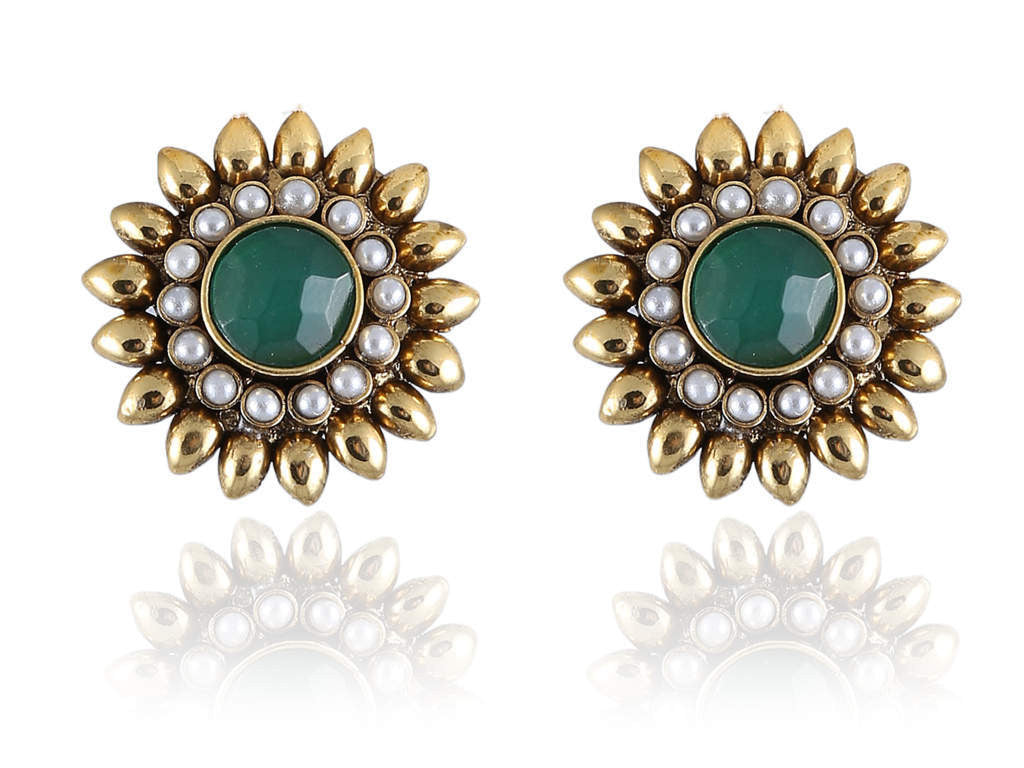 Polki Earring with Green Stones and White Pearls in Golden Combination PO836