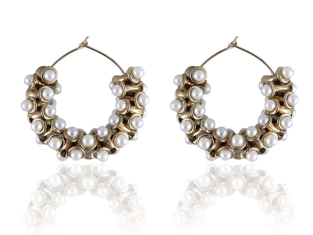 Bali Style Polki Earring with White Pearls PO839