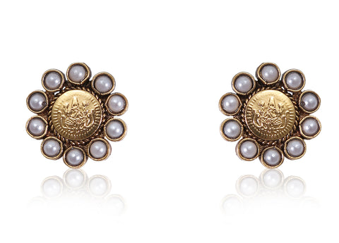 Beautiful Coin Polki Earrings with Pearls PO846