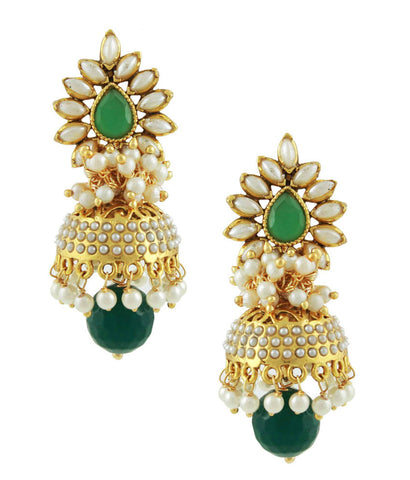 Bollywood Aashiqui 2 Style Polki Earrings in Green and White Color - PO843