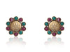 Beautiful Coin Polki Earrings with Red & Green colored stones PO845