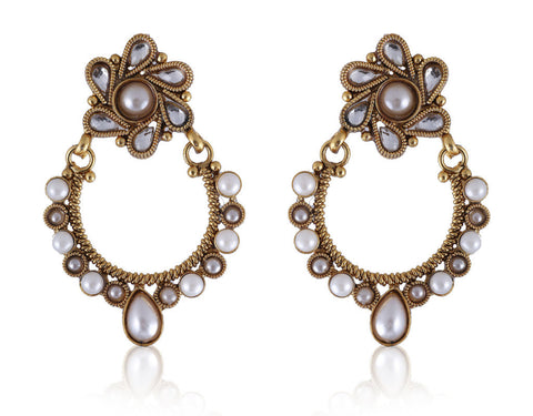 Beautiful Chandbali style Earrings in Golden and Pearls combination PO862